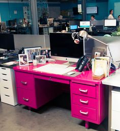 Bright pink desk at the office Furniture Makeover, Diy Furniture, Painted Furniture, White Executive Desk, Tanker Desk, Desk Redo, Pink Desk, Old Desks, I Believe In Pink