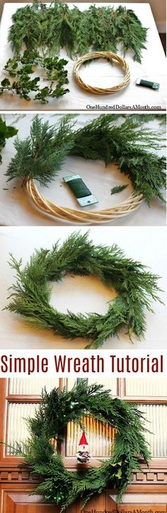 DIY-How to Make a Wreath, cedar wreath tutorial, Christmas wreath directions, Wreath