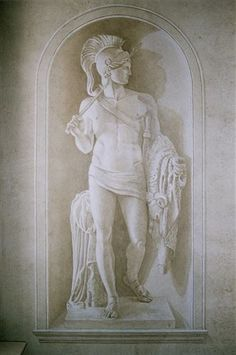 Neo-Classical En Grisaille Trompe l'oeil. Male Statue in niche. Eaton sq London by Timna Woollard Studio