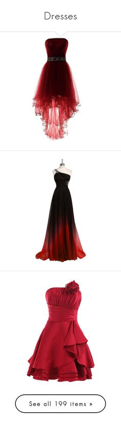 """Dresses"" by bluwolf751 ❤ liked on Polyvore featuring dresses, gowns, short front long back dress, red ball gown, short homecoming dresses, homecoming dresses, high low evening dresses, long dress, beaded long evening dresses and prom ball gowns"