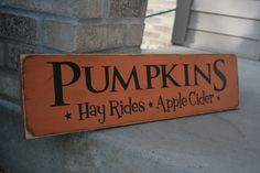 I have lots of new designs coming in soon! Nows the time to purchase your Fall/Halloween decor! This adorable sign reads Pumpkins *Hay Rides* Fall Wood Signs, Fall Signs, Wooden Signs, Holiday Signs, Christmas Signs, Wooden Diy, Painted Signs, Holiday Ideas, Halloween Home Decor