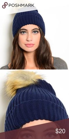 🎉HP🎉 Navy Blue Knit Fur Pom Pom Beanie Hat New with tags. Navy blue knit beanie with large faux fur pom-pom. Adorable way to stay warm in the upcoming seasons.                                              🌺PRICE IS FIRM UNLESS BUNDLED.                                     ❌SORRY, NO TRADES. Boutique Accessories Hats