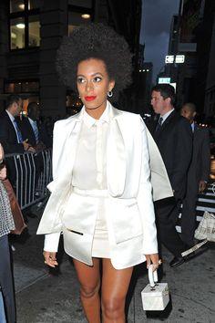 Love the white short suit set minus Solange.