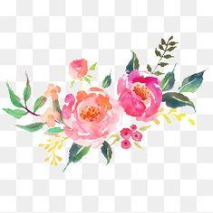 جميلة الزهور الطازجة ألوان مائية