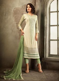 Chiffon White Color Incredible Unstitched Salwar Kameez