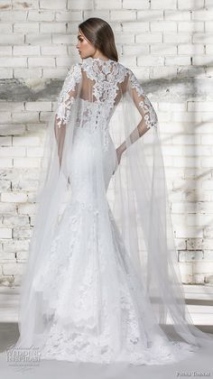 Wedding Gown pnina tornai 2019 love bridal strapless deep plunging sweetheart neckline full embellished tiered skirt elegant romantic mermaid wedding dress with cape corset back sweep train bv -- Pnina Tornai 2019 Wedding Dresses