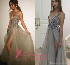 Gorgeous Grey Evening Prom Dresses 2016 A-Line Deep V-Neck Major Beaded High Split Ruffled Formal Party Celebrity Gowns Custom Made Plus Size Prom Evening Beaded Evening Gowns Sexy Luxury Formal Gowns Online with 127.0/Piece on Magicdress2011's Store | DHgate.com