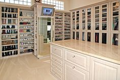 Looking for some fresh ideas to remodel your closet? Visit our gallery of leading luxury walk in closet design ideas and pictures. Dressing Room Closet, Closet Bedroom, Master Closet, Walk In Closet, Dressing Rooms, Shoe Closet, Closet Space, Master Bedroom, Glam Closet