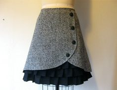 London Fog wool ruffle front skirt Sz 14 by LoveToLoveYou on Etsy, $78.00