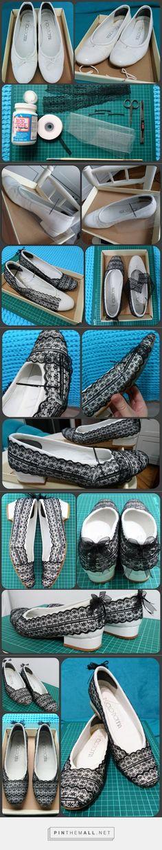 Ayakkabı yenileme projesi - DIY shoe makeover #diy #shoemakeover #embroidedtulle #modpodge #mendingbetterthanending