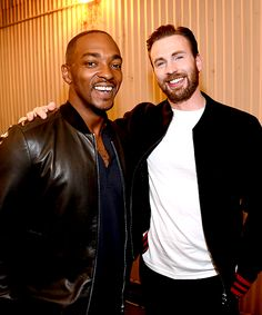 Anthony Mackie and Chris Evans attend the 2016 MTV Movie Awards at Warner Bros. Studios on April 9, 2016 in Burbank, California.