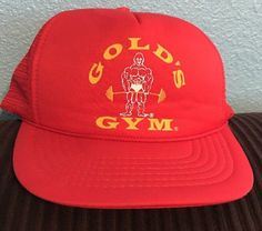 9d35a601f21 Vintage gold s gym baseball trucker cap bodybuilding hat workout football  muscle