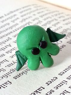 Chibi Cthulhu Polymer Clay Adjustable Ring // by LoveCraftAndCo, $5.00