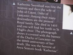 Katherine Swynford Plaque - Lincoln Cathedral, Lincoln, UK | Flickr - Photo Sharing!