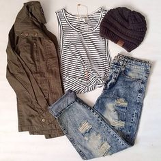 Here are some basics for a casual fall wardrobe - olive jacket, striped shirt, distressed boyfriend jeans and a beanie.