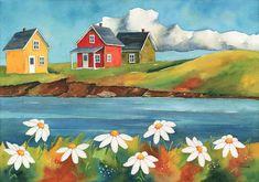 Laminages - La Banquise du Golfe Art Deco Illustration, Watercolor Illustration, Watercolor Art, September Art, Dark Art Photography, Mini Canvas Art, Summer Painting, Art Drawings For Kids, Naive Art
