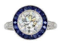 Old European Cut Diamond J Sapphire Art Deco Style Ring. Platinum Engagement Rings, Vintage Engagement Rings, Jewelry Rings, Fine Jewelry, Jewlery, Gem Diamonds, Art Deco Diamond, European Cut Diamonds, Love Ring