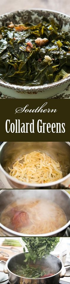 "Southern Style Collard Greens! Slow cooked collard greens with a ham hock, onions, vinegar and hot sauce. A classic with BBQ! <a class=""pintag"" href=""/explore/Healthy/"" title=""#Healthy explore Pinterest"">#Healthy</a> On <a href=""http://SimplyRecipes.com"" rel=""nofollow"" target=""_blank"">SimplyRecipes.com</a>"