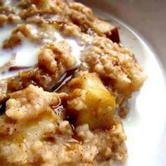 Overnight Crockpot Oatmeal with Apples ~~Place 2 sliced apples, 1/4 cup brown sugar, 1 tsp cinnamon, pinch salt in the bottom of the crock pot.  Pour in 2 cups of oatmeal, 2 cups of milk and 2 cups water.  Do NOT stir.  Cook overnight for 8 - 9 hours on low.