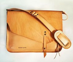 Handmade tan leather satchel / slingbag for the ladies by Xobruno - with cute little buttons - asymmetrical design