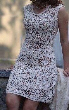 Fabulous Crochet a Little Black Crochet Dress Ideas. Georgeous Crochet a Little Black Crochet Dress Ideas. Crochet Wedding Dresses, Crochet Summer Dresses, Summer Dress Patterns, Black Crochet Dress, Crochet Blouse, Knit Or Crochet, Pretty White Dresses, Crochet Woman, Diy Dress