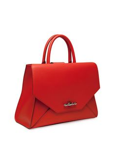 Givenchy Obsedia Top Handle Small Leather Satchel Bag, Orange