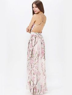Muiticolour Hibiscus Florals V-neck Spaghetti Straps Backless Maxi Dress