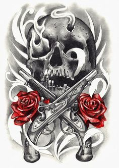 guns and roses tattoo designs Flash Art Tattoos, Skull Tattoos, Rose Tattoos, New Tattoos, Body Art Tattoos, Sleeve Tattoos, Tatoos, Ship Tattoos, Ankle Tattoos