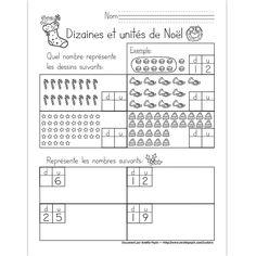 Fichier PDF téléchargeable En noir et blanc seulement Niveau: 1re année 1 page  Dans cet exercice, l'élève trouve les 4 nombres représentés par les dessins de Noël et il représente les 4 nombres demandés.