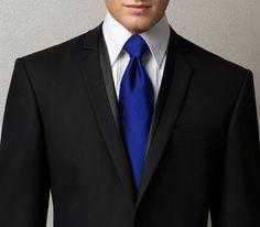 Royal Blue tie w/ Black Suit