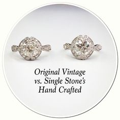 Can you tell the difference between the original vintage piece and our own hand crafted? #vintage #diamond #ring #handcrafted #recreation #love #details #wow #special #amazing #work #engraved #platinum #engagement #wedding @singlestonemissionstreet