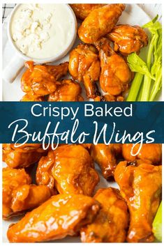 Buffalo Wings are a must for tailgating! This crispy baked buffalo wings recipe is covered in our homemade buffalo sauce for the perfect hot and spicy flavor. Baked Buffalo Chicken Wings are a real crowd pleaser and perfect for game day parties. Hot Wing Sauces, Chicken Wing Sauces, Cooking Chicken Wings, Sauce For Chicken Wings, Chicken Wing Recipes Healthy, Crockpot Chicken Wings, Air Fryer Chicken Wings, Chicken Breasts, Salsa Buffalo