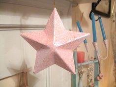 "Shabby Pink Sugar Glitter Lg 3-D Star Christmas Ornament Chic Home Decor Hanger Fabulous 5"" Decor Paris Cottage Victorian Baby Girl Nursery by VintageChicPleasures on Etsy"