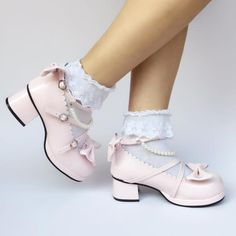Sweet Bead Chains Bows Lolita Shoes
