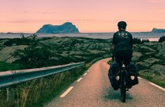 ortlieb bicycle bags riding off into the sunset