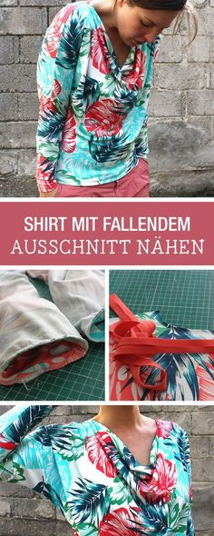 DIY-Anleitung: Nähanleitung für shirt mit fallendem Ausschnitt, Dein Lieblingspullover für den Herbst / DIY tutorial: sewing tutorial for shirt with nicly draped v-neck, sew your favorite fall pullover via DaWanda.com