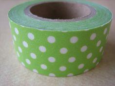 Washi Tape  Single Roll  Green with White Polka by HazalsBazaar, $5.00