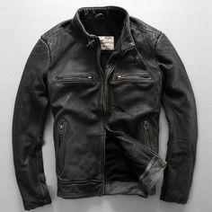 avirex fly pattern genuine leather jacket men harley style black cowskin…