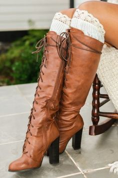 Lace To The Top Boots-Cognac