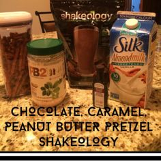 New Chocolate shakeology recipe - Peanut butter and Caramel Chocolate Covered Pretzel