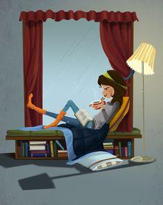 Les jours de pluie, quand on lit un bon bouquin, bien au chaud chez soi...