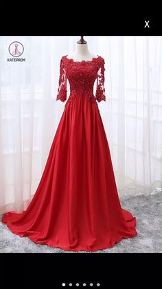 Kateprom Beautiful Red Satin And Lace Sleeves Party Gown, Red Long Prom Dress Mothers Dresses, Girls Dresses, Formal Dresses, Red Colour Dress, Dress Red, Color Red, Party Gowns, Party Dress, Vestido Charro