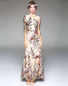 VIPshop Apricot Floral Embroidered Slim Fit Flare Maxi Dress❤ Get more  outfit ideas and style inspiration from fashion designers at VIP.com. 6851e8592b06