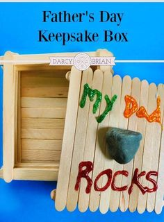 Are you looking for a fun and easy homemade Father's Day gift idea? The kids will enjoy making this Dad Rocks Keepsake Box popsicle craft. This is a great way to get the kids involved in gift giving. The box can be the gift or it can double as the gift ho Diy Father's Day Gifts Easy, Easy Fathers Day Craft, Homemade Fathers Day Gifts, Father's Day Diy, Homemade Gifts, Fathers Day Crafts Preschool, Fathers Day Presents, Popsicle Crafts, Craft Stick Crafts