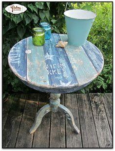 Coastal Table With Faux Plank Boards & Saltwash - Patina Paradise