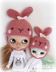 Set of two Blythe Bunny Helmet Neo & Middie size by kokorogumis, $19.00