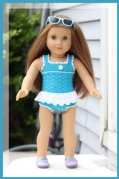 Sea Dreams Bathing Suit Crochet Pattern for 18 inch Dolls and American Girl Doll Crochet Doll Clothes, Doll Clothes Patterns, Girl Doll Clothes, Clothing Patterns, Girl Dolls, Baby Dolls, Crochet Dolls, Crochet Bear, Girl Clothing
