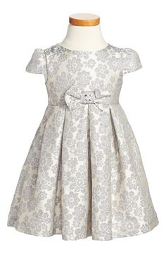 Floral Jacquard Dress (Toddler Girls, Little Girls & Big Girls) Nordstrom Holiday 2014 Frocks For Girls, Kids Frocks, Little Girl Dresses, Girls Dresses, Toddler Girl Dresses, Toddler Girls, Dress Anak, Girl Dress Patterns, Jacquard Dress