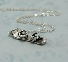 Snowboard Necklace - Sterling Silver Charm on a 17 inch Cable Chain
