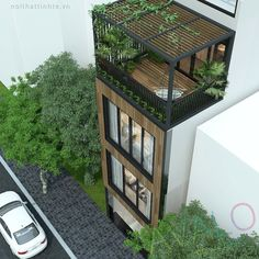 Nice tube house design in Au Co street - AVALO Narrow House Designs, Small House Design, Modern House Design, Building Design, Building A House, Casa Patio, Townhouse Designs, Balcony Design, Facade Architecture